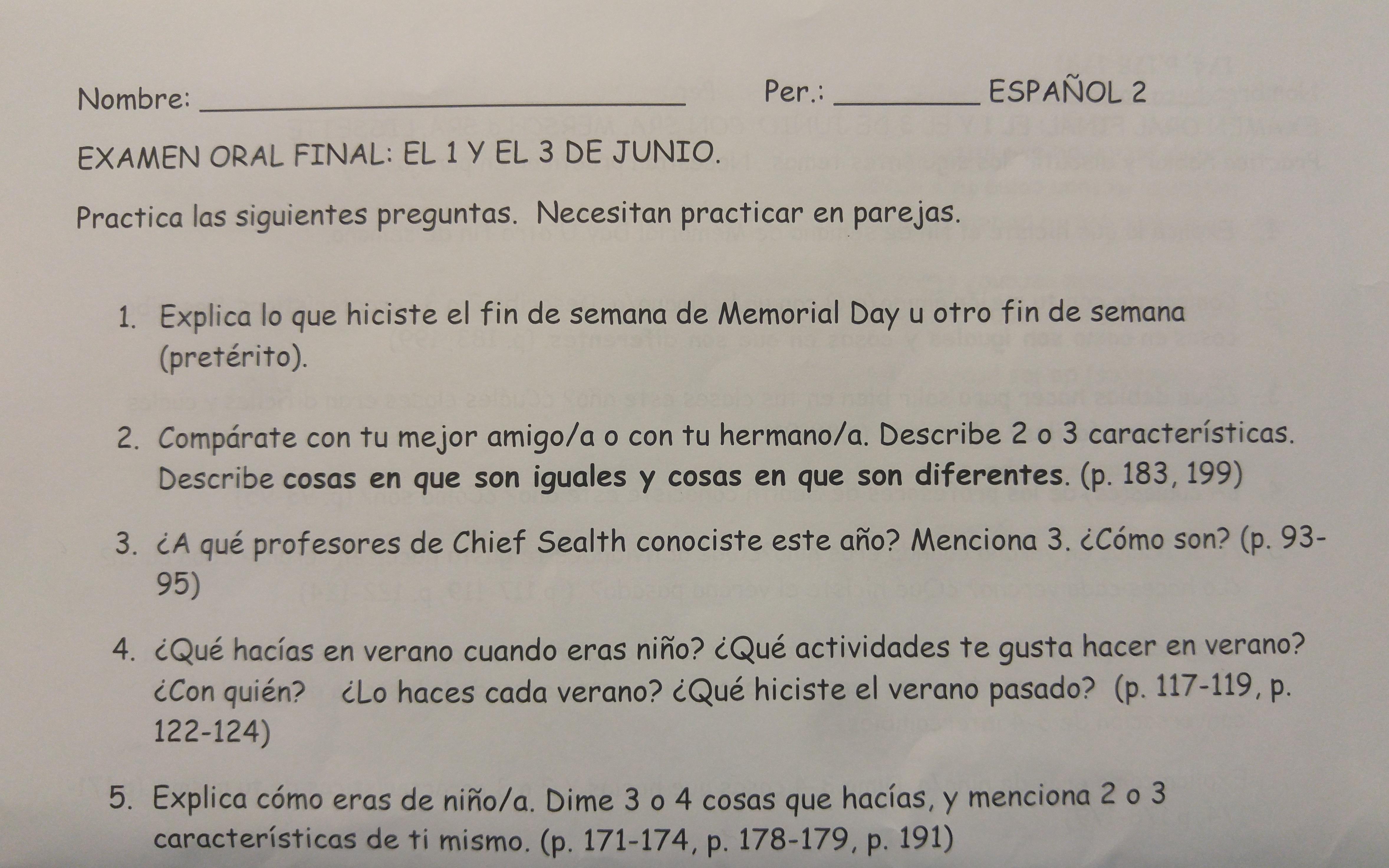examen oral final el 1 y el 3 de junio